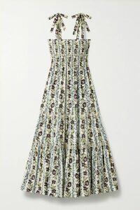 By Malene Birger - Genua Oversized Ruched Striped Cotton-blend Midi Dress - Pastel pink