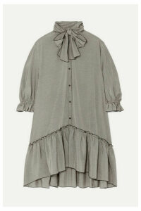 See By Chloé - Pussy-bow Ruffled Gingham Crepe De Chine Dress - Gray