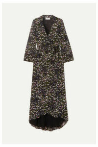 GANNI - Floral-print Georgette Wrap Dress - Black
