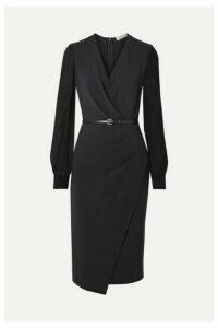 Max Mara - Manuel Wrap-effect Wool-blend Crepe And Silk-chiffon Dress - Navy