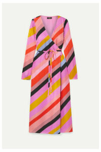 Stine Goya - Striped Silk-jacquard Wrap Dress - Pink