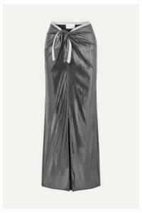 Marie France Van Damme - Two-tone Stretch-lamé Maxi Skirt - Gunmetal