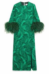 16ARLINGTON - Billie Feather-trimmed Printed Cady Dress - Green