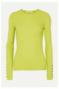 Jason Wu Collection - Button-detailed Ribbed Cashmere And Silk-blend Sweater - Yellow