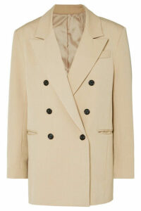 Frankie Shop - Julie Double-breasted Gabardine Blazer - Beige