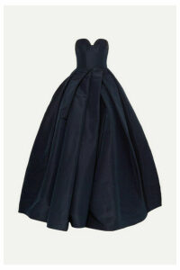 Reem Acra - Pleated Silk-faille Gown - Navy