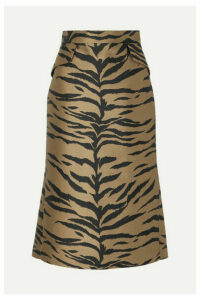 Carolina Herrera - Tiger-jacquard Midi Skirt - Brown