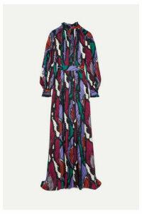 Carolina Herrera - Belted Printed Crepe Gown - Navy