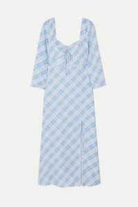RIXO - Giselle Checked Crepe De Chine Dress - Blue