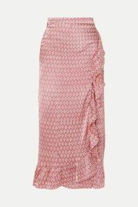 Cloe Cassandro - Kimi Ruffled Printed Silk-satin Wrap Skirt - Pastel pink