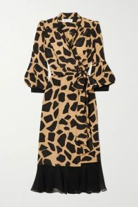 Jaline - Kelly Open-back Printed Silk Crepe De Chine Midi Dress - Purple
