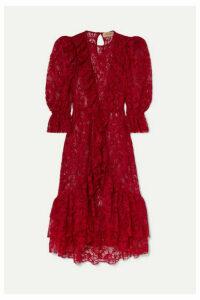 Adriana Degreas - Bacio Ruffled Lace Midi Dress - Red