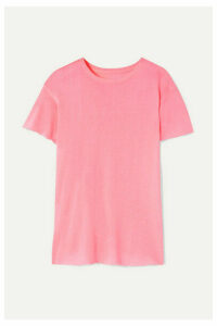 The Elder Statesman - Distressed Cashmere And Silk-blend T-shirt - Baby pink