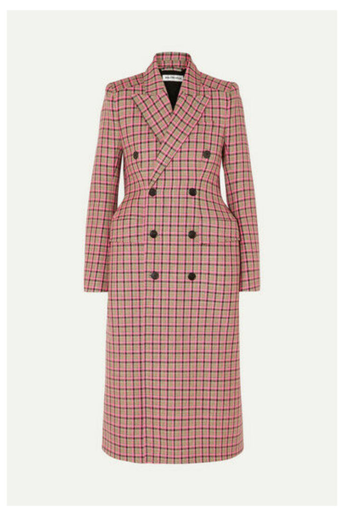 Balenciaga - Hourglass Double-breasted Checked Wool Coat - Pink