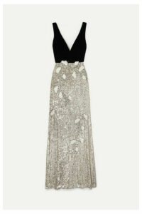 Monique Lhuillier - Velvet And Embellished Tulle Gown - Silver