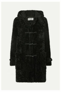SAINT LAURENT - Hooded Shearling Coat - Black