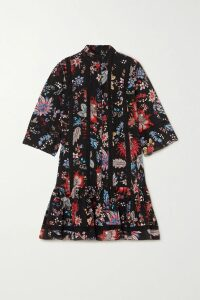 Marchesa Notte - Velvet-trimmed Appliquéd Embroidered Tulle Midi Dress - Blush
