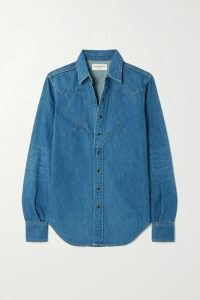 Theory - Striped Silk-satin Twill Midi Dress - Blue