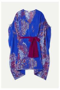 Jaline - Paloma Belted Printed Silk Crepe De Chine Kaftan - Royal blue