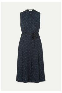 Equipment - Clevete Polka-dot Crepe Midi Dress - Navy