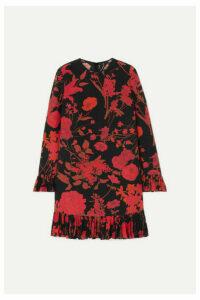 Valentino - Ruffled Floral-print Silk Crepe De Chine Midi Dress - Black