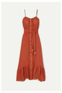 Lisa Marie Fernandez - Ruffled Tiered Linen-blend Gauze Maxi Dress - Orange