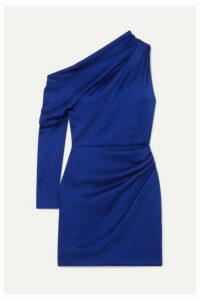 Cushnie - Asymmetric Hammered-satin Mini Dress - Indigo