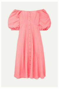 Mara Hoffman - + Net Sustain Mika Off-the-shoulder Tencel And Linen-blend Midi Dress - Coral