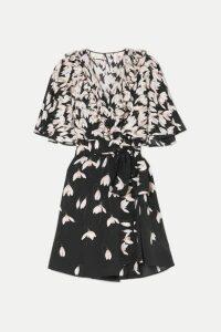 Valentino - Ruffled Floral-print Silk Crepe De Chine Mini Wrap Dress - Black