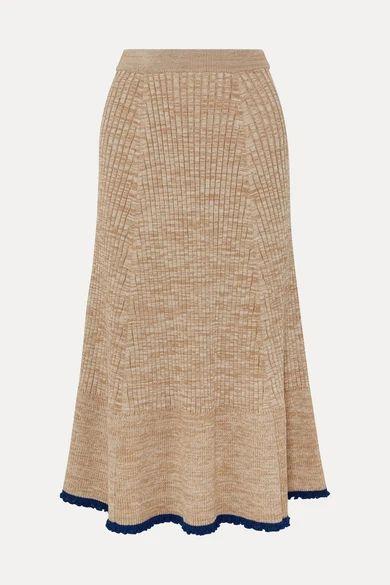 Jil Sander - Ribbed Mélange Wool Midi Skirt - Beige