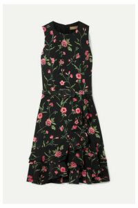 Michael Kors Collection - Belted Ruffled Floral-print Crepe Mini Dress - Black