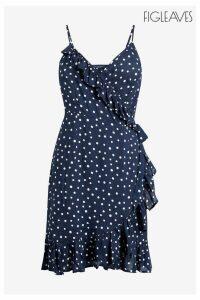 Womens Figleaves Blue Sorrento Spot Woven Cami Midi Wrap Dress -  Blue