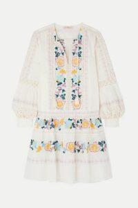 Tory Burch - Boho Crochet-trimmed Embroidered Swiss-dot Cotton Mini Dress - Ivory