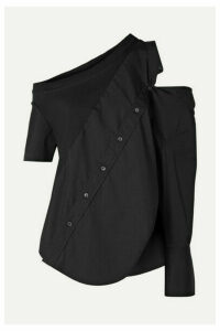 Monse - Cold-shoulder Cotton-blend Jersey And Poplin Top - Black