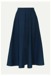 ARoss Girl x Soler - Alex Cotton-poplin Midi Skirt - Navy