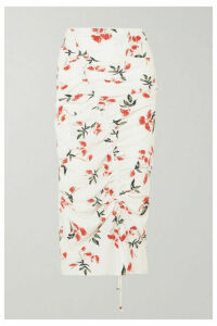 The Line By K - Sisilia Ruched Floral-print Crepe De Chine Midi Skirt - White