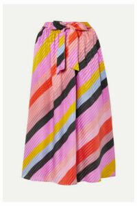 Stine Goya - Audrey Striped Silk-jacquard Midi Skirt - Pink