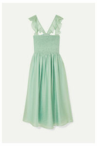 Madewell - Ruffled Shirred Voile Dress - Light green