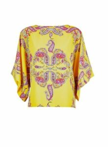 Womens Yellow Paisley Print Batwing Sleeve Top- Ochre, Ochre