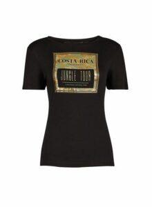 Womens Black Costa Rica Camouflage Print Logo T-Shirt- Black, Black