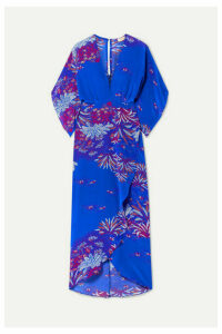 Jaline - Katherine Printed Silk Crepe De Chine Midi Dress - Blue