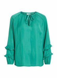 Womens **Vila Green Tie Neck Blouse- Green, Green