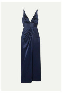 Naeem Khan - Draped Silk-satin Gown - Navy