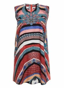 Womens *Quiz Curve Multi Colour Abstract Tunic Top- Multi Colour, Multi Colour
