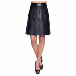 John   Yoko  Lamb leather skirt  women's Skirt in Black