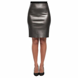 John   Yoko  Lamb leather skirt  women's Skirt in Grey
