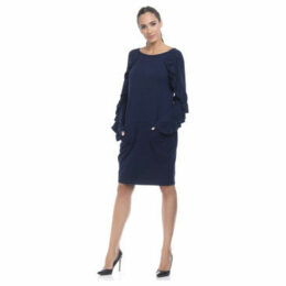 Tantra  Solid dress, flounced sleeves  women's Dress in Blue