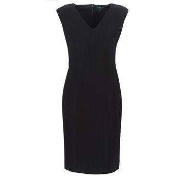 Lauren Ralph Lauren  BLACK CAP SLEEVE DAY DRESS  women's Long Dress in Black