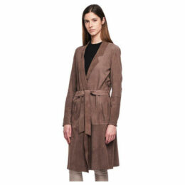 John   Yoko  Leather trench coat  women's Trench Coat in Grey