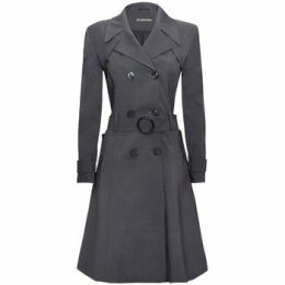 De La Creme  - Mid Grey Womens Spring Belted Trench Coat  women's Trench Coat in Grey